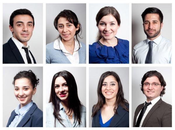 Collage aus Bewerbungsfotos zum thema business
