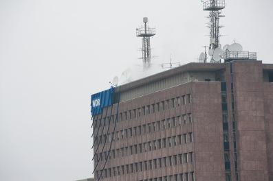 Das WDR Gebäude in Köln fotografiert aus der Früh Lounge