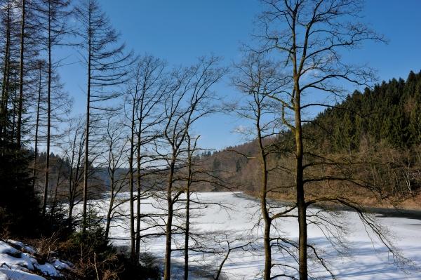 Die Aggertalsperre, nahe Gummersbach ist ein idealer Ort zum wandern.
